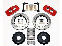 Wilwood AERO6 Front Big Brake Kit with Drilled and Slotted Rotors; Red Calipers (99-18 Silverado 1500)