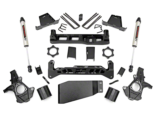 Rough Country 6 in. Suspension Lift Kit w/ V2 Monotube Shocks (07-13 4WD Silverado 1500)