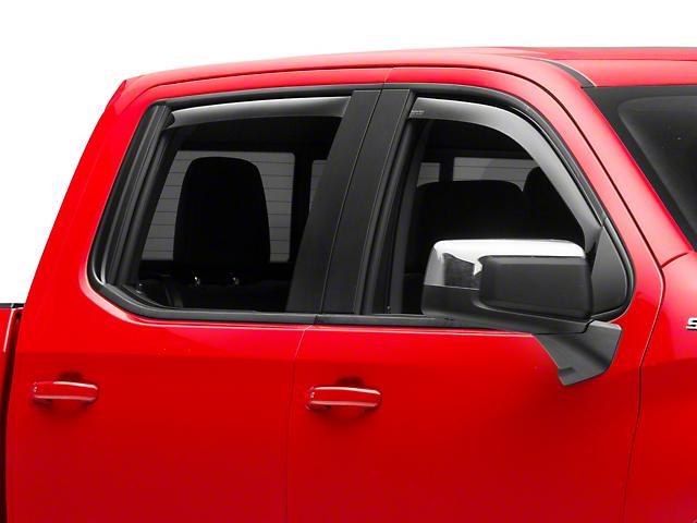 Weathertech Window Deflectors; Front and Rear; Dark Smoke (19-21 Silverado 1500 Crew Cab w/ Rubber Door Sill)