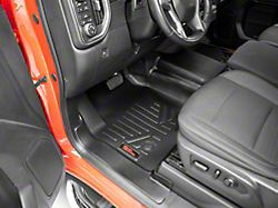 Rough Country Heavy Duty Front and Rear Floor Mats; Black (19-22 Silverado 1500 Crew Cab w/ Front Bench Seat)