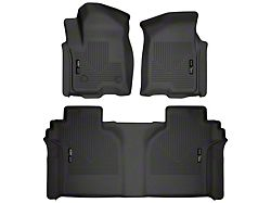 Husky WeatherBeater Front and Second Seat Floor Liners; Black (19-21 Sierra 1500 Crew Cab w/ Rear Underseat Storage)