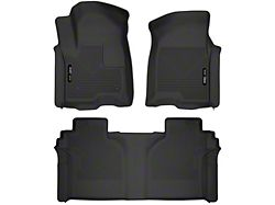 Husky X-Act Contour Front and Second Seat Floor Liners; Black (19-21 Sierra 1500 Crew Cab w/ Rear Underseat Storage)