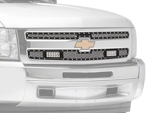 Modern Billet Mesh Upper Grille Insert with LED Lighting and Rivets; Black (07-13 Silverado 1500)