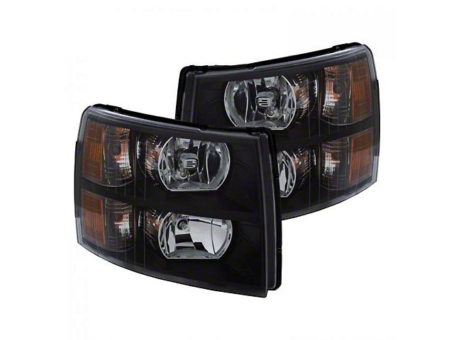 Crystal Headlights; Black Housing; Clear Lens (07-13 Silverado 1500)