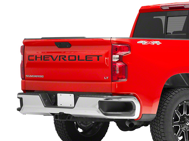 Tailgate Insert Letters; Gloss Black with Red Outline (19-21 Silverado 1500)