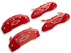 MGP Red Caliper Covers with Bowtie Logo; Front and Rear (19-22 Silverado 1500)