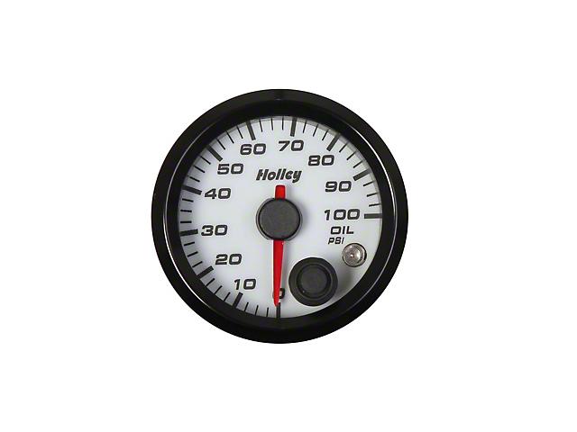 Holley Performance Engine Oil Pressure Gauge; 2-1/16 HOLLEY OIL PRES GAUGE-WHT
