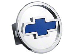 Chevrolet Hitch Cover; Chrome/Blue Fill (Universal; Some Adaptation May Be Required)