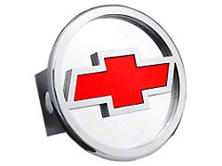Chevrolet Hitch Cover; Chrome/Red Fill (Universal; Some Adaptation May Be Required)