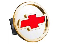Chevrolet Hitch Cover; Gold/Red Fill (Universal; Some Adaptation May Be Required)