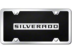 Silverado License Plate; Chrome on Black (Universal; Some Adaptation May Be Required)