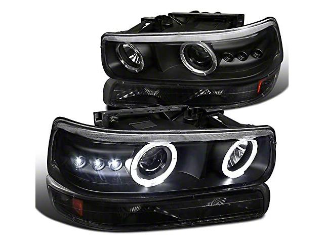 Dual Halo Projector Headlights with Bumper Lights; Matte Black Housing; Clear Lens (99-03 Silverado 1500)