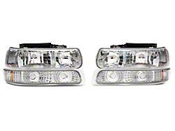 4-Piece Headlights with Amber Corner Lights; Chrome Housing; Clear Lens (99-02 Silverado 1500)