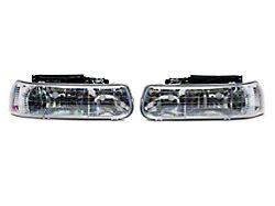 4-Piece Headlights with Clear Corner Lights; Chrome Housing; Clear Lens (99-02 Silverado 1500)