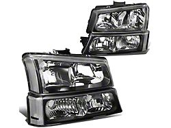 4-Piece Headlights with Clear Corner Lights; Smoked Housing; Clear Lens (03-06 Silverado 1500)