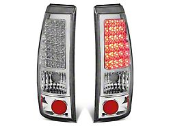 LED Tail Lights; Chrome Housing; Clear Lens (99-03 Sierra 1500 Fleetside)