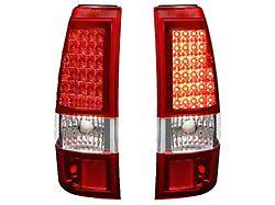 LED Tail Lights; Chrome Housing; Red Lens (03-06 Sierra 1500 Fleetside)