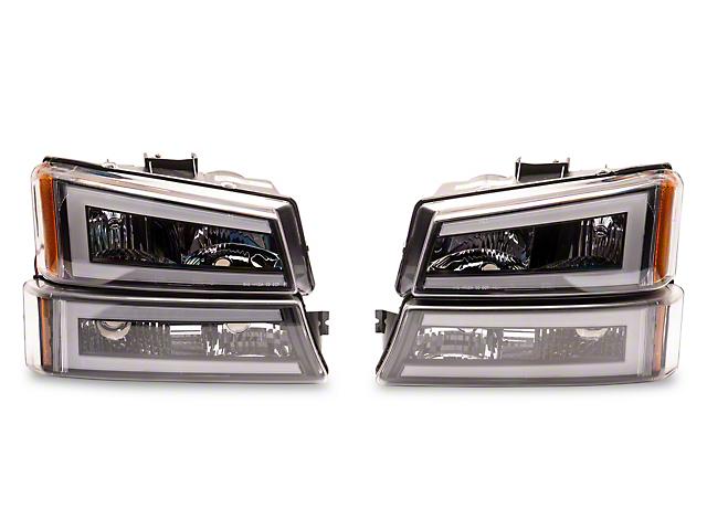 LED DRL Bar Headlights; Black Housing; Clear Lens (03-06 Silverado 1500)