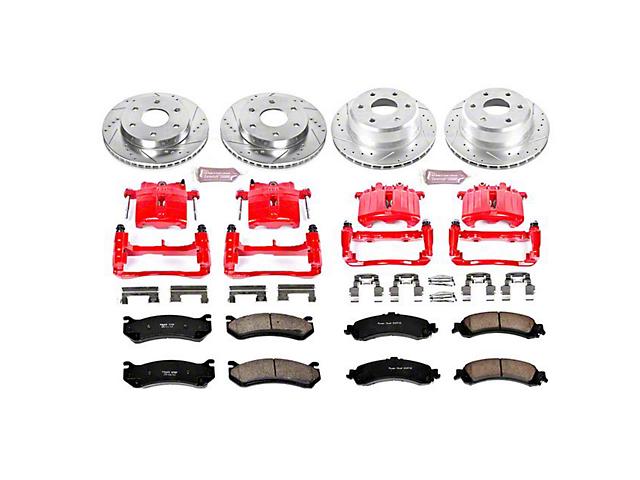Power Stop Z23 Evolution Sport 6-Lug Brake Rotor, Pad and Caliper Kit; Front and Rear (01-06 Silverado 1500 w/ Dual Piston Rear Caliper)
