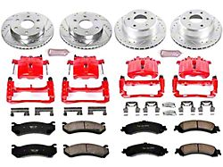 Power Stop Z23 Evolution Sport 6-Lug Brake Rotor, Pad and Caliper Kit; Front and Rear (01-06 Sierra 1500 w/ Dual Piston Rear Caliper)