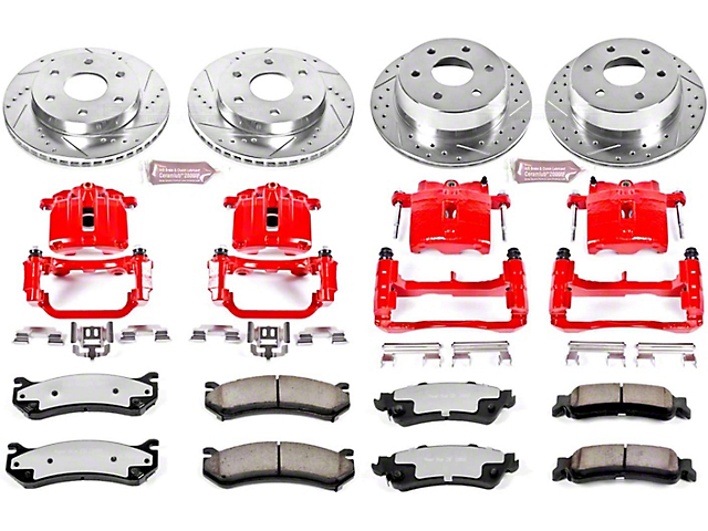 Power Stop Z36 Extreme Truck and Tow 6-Lug Brake Rotor, Pad and Caliper Kit; Front and Rear (99-02 Silverado 1500 w/ Single Piston Rear Caliper)