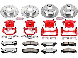 Power Stop Z36 Extreme Truck and Tow 6-Lug Brake Rotor, Pad and Caliper Kit; Front and Rear (99-02 Sierra 1500 w/ Single Piston Rear Caliper)