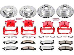 Power Stop Z36 Extreme Truck and Tow 6-Lug Brake Rotor, Pad and Caliper Kit; Front and Rear (01-06 Sierra 1500 w/ Dual Piston Rear Caliper)