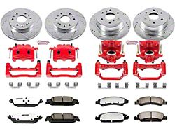 Power Stop Z36 Extreme Truck and Tow 6-Lug Brake Rotor, Pad and Caliper Kit; Front and Rear (14-18 Sierra 1500)