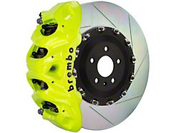 Brembo GT Series 8-Piston Front Big Brake Kit with 16.20-Inch 2-Piece Type 1 Slotted Rotors; Fluorescent Yellow Calipers (07-18 Silverado 1500)