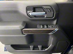 Front Door Handle Surround Accent Trim; Domed Matte Carbon Fiber (19-22 Silverado 1500)