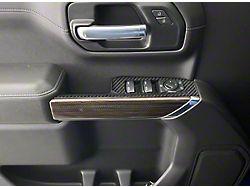 Front Door Switch Accent Trim; Domed Matte Carbon Fiber (19-22 Silverado 1500)