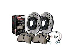 StopTech Sport Axle Drilled and Slotted 6-Lug Brake Rotor and Pad Kit; Front (99-05 Sierra 1500 w/ Single Piston Rear Calipers; 2006 Sierra 1500 Hybrid)