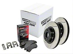 StopTech Street Axle Slotted 6-Lug Brake Rotor and Pad Kit; Front (99-04 Sierra 1500; 05-06 2WD Sierra 1500 w/ Quadsteer)