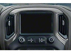 Center Dash A/C Vent Accent Trim; Matte Domed Carbon Fiber (19-22 Silverado 1500)