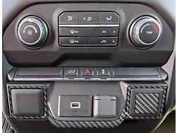 Lower Center Dash Accents; Domed Carbon Fiber (19-22 Silverado 1500)