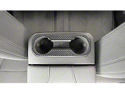 Rear Cup Holder Accent Trim; Matte Domed Carbon Fiber (19-22 Silverado 1500)