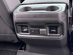 Rear USB Accent Trim; Raw Carbon Fiber (19-22 Silverado 1500)