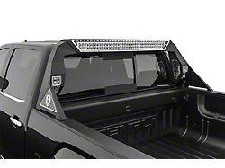 Road Armor iDentity Hyve Mesh Headache Rack with Bedrail Pods and Standard 40-Inch Center Light Pod; Raw Steel (14-18 Sierra 1500)