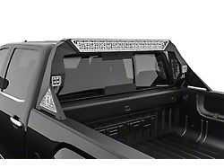 Road Armor iDentity id Mesh Headache Rack with Bedrail Pods and Standard 40-Inch Center Light Pod; Raw Steel (14-18 Sierra 1500)