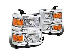 LED DRL Headlights with Amber Corner Lights; Chrome Housing; Clear Lens (14-15 Silverado 1500)