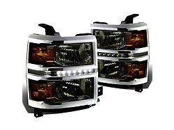 LED DRL Headlights with Amber Corner Lights; Smoked Housing; Clear Lens (14-15 Silverado 1500)