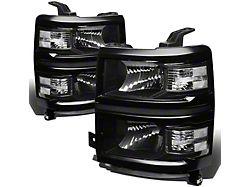 Headlights with Clear Corner Lights; Black Housing; Clear Lens (14-15 Silverado 1500)