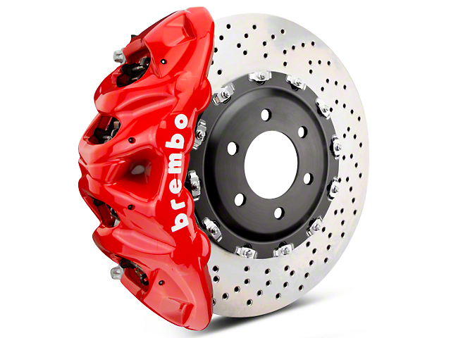 Brembo GT Series 8-Piston Front Brake Kit - 2-Piece Cross Drilled Rotors - Red (07-18 Sierra 1500)