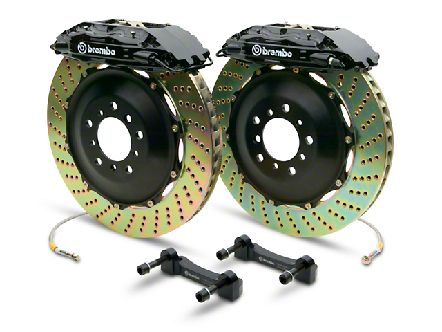 Brembo GT Series 4-Piston Rear Big Brake Kit with 2-Piece Cross Drilled Rotors; Black Calipers (07-13 Sierra 1500)