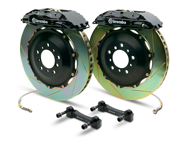 Brembo GT Series 4-Piston Rear Big Brake Kit with 2-Piece Slotted Rotors; Black Calipers (07-13 Sierra 1500)