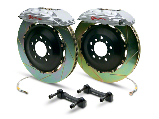 Brembo GT Series 4-Piston Rear Brake Kit - 2-Piece Slotted Rotors - Silver (07-13 Sierra 1500)