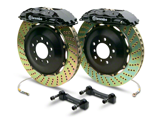 Brembo GT Series 4-Piston Rear Big Brake Kit with 2-Piece Cross Drilled Rotors; Black Calipers (14-18 Sierra 1500)