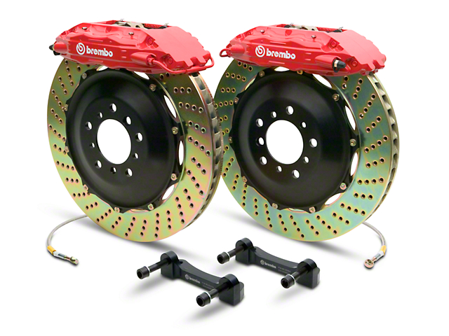 Brembo GT Series 4-Piston Rear Big Brake Kit with 2-Piece Cross Drilled Rotors; Red Calipers (14-18 Sierra 1500)