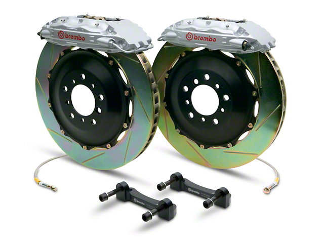 Brembo GT Series 4-Piston Rear Big Brake Kit with 2-Piece Slotted Rotors; Silver Calipers (14-18 Sierra 1500)
