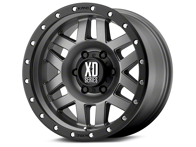 XD Machete Matte Gray with Black Ring 6-Lug Wheel; 20x10; -24mm Offset (07-20 Sierra 1500)